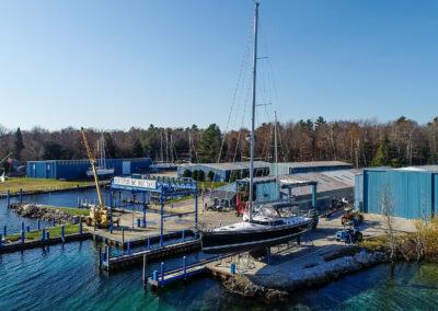 Shoreline showing marina and boat hoist
